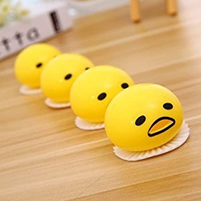 Cianowegy Cute Vomiting & Sucking Lazy Egg Yolk Vent Stress Tricky Game Novelty Squeezed Funny Stress Relief Toys for Practical Jokes, 4PCS: Toys & Games