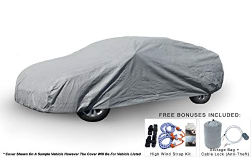 Weatherproof Car Cover Compatible with Dodge Charger (6th Gen) 2005-2019 - 5L Outdoor & Indoor - Protect from Rain, Snow, Hail, UV Rays, Sun - Fleece Lining - Anti-Theft Cable Lock, Bag & Wind Straps ()
