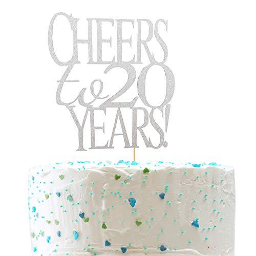 (Sliver Glitter Cheer to 20 Years Cake Topper - Hello 20 - Happy 20th birthday Cake Topper - 20th Birthday/Wedding Anniversary Party Decoration)