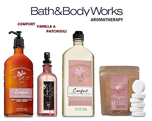 Bath and Body Works VANILLA & PATCHOULI Deluxe Spa Set Aromatherapy COMFORT ~ Body Wash & Foam Bath - Body Lotion ~ Pillow Mist & In Shower Steamer (Set Comfort Essentials)