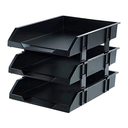 Jinxin-Office Products Desk Organizers Stackable File Tray – 3 Tier Stackable Letter Trays – File Holder Organizer,Black