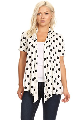 (Solid & Printed Short Sleeves Open Front Draped Cardigan/MADE IN USA White Polka Dot M)