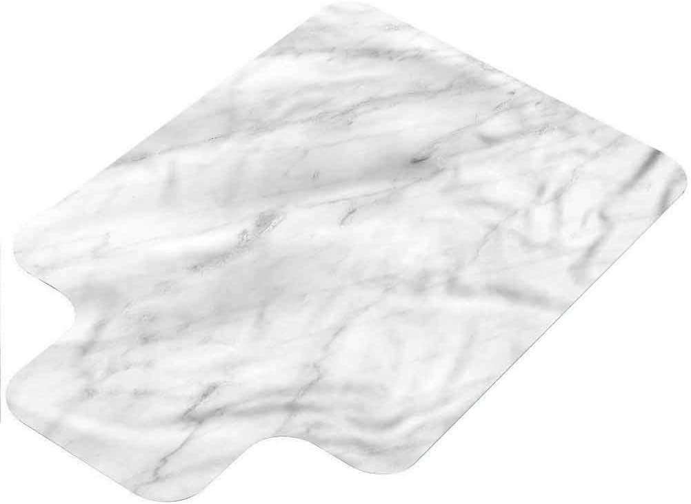 """Hard Floor Chair Mat Marble,Carrara Organic Tile 36""""x48"""" with Lip Computer Chair Floor Protector for Office and Home"""