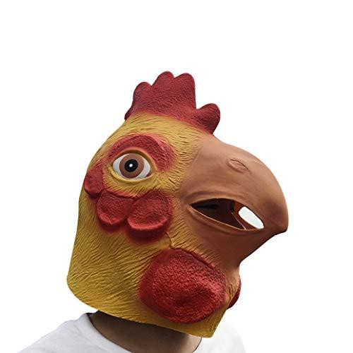 Lywey Halloween Head Costume, Novelty Terror Lifelike Party Props Latex Animal Head Sounding Funny Mask (Cock)