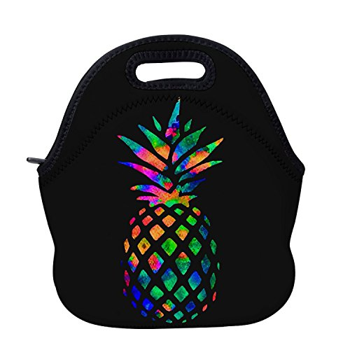 AOTIGO Pineapple Colorful Neoprene Lunch Bag Insulated Lunch Box Waterproof Tote Bag with Zipper for Kids Boys Girls Women and Men