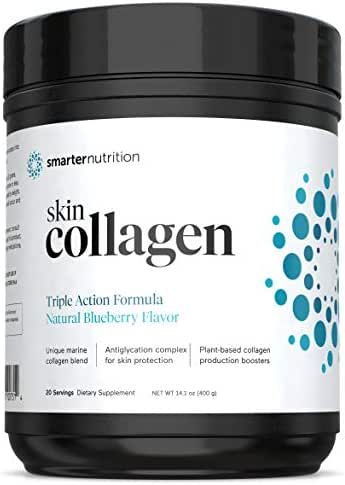 Smarter Skin Collagen - Triple Action Formula for Vibrant, Healthy Skin | Unique Marine Collagen Blend with Antioxidant Protection & Plant-Based Collagen Production Boosters (20 Servings)
