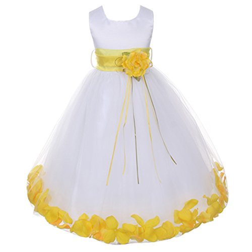 Flower Petal Skirt - Big Girls White Sleeveless Satin Bodice Floating Flower Petals Girl Dress with Matching Organza Sash and Double Tulle Skirt - Yellow Set - Size 12