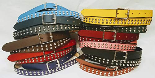Embossed Studded Belt - Leather Belts with 2 rows Metal Studs 1