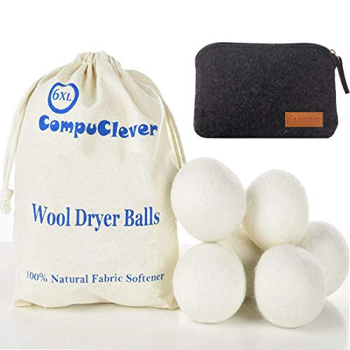 Wool Dryer Balls by Teemour Pack of 6 XL Organic Natural Fabric Softener Laundry Dryer Ball Bonus Pouch Free Gift 6White