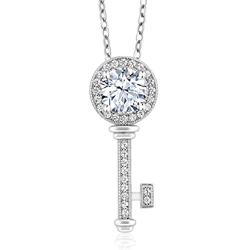 1.57 Ct White Created Sapphire 925 Sterling Silver Key Pendant