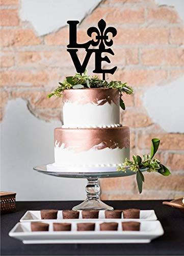 (Acrylic Cake Topper Love Fleur De Lis Cake Topper Custom Laser Cut Variety Of Colors Wedding Topper Cake Decoration )