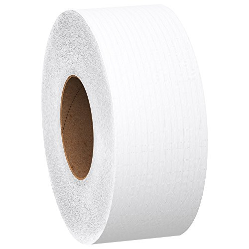 Scott 1000 Jumbo Roll JR. Commercial Toilet Paper (07805), 2-PLY, White, 12 Rolls/Case, 1000'/Roll Bath Tissue 1000/2 Ply
