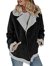 6b358f11dc7 Women s Faux Suede Leather Jacket Winter Warm Pockets Oblique Zip Solid Coat  Tops Outwear