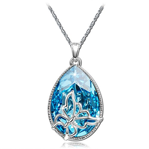 Brilla Christmas Gift Pendant Necklace Women Fashion Jewelry 'Butterfly Dream' Teardrop Swarovski Elements Crysta Ocean Blue