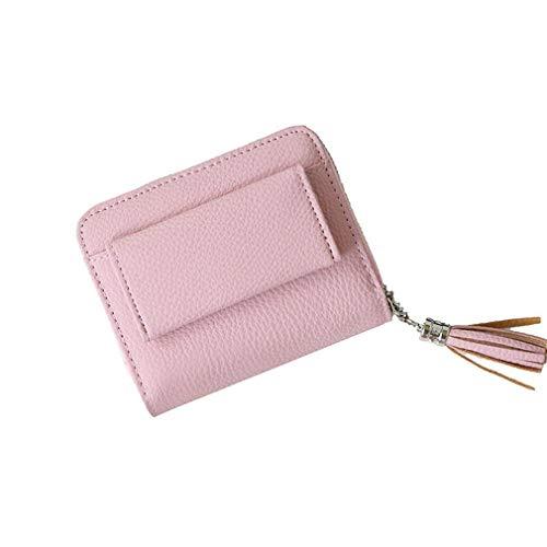 Zipper Buckle Tassel Small Wallet Rfid Mini Student Cute Coin Purse NC (Color - Pink)
