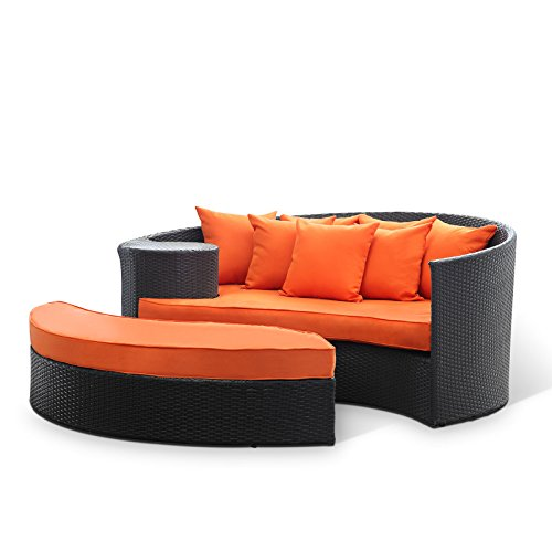 Lexington Daybed - Modway Taiji Outdoor Wicker Patio Daybed with Ottoman in Espresso with Orange Cushions