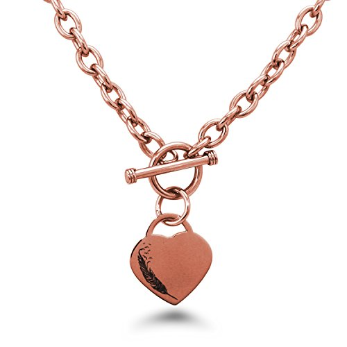 (Tioneer Rose Gold Plated Stainless Steel Feather Birds Heart Charm, Necklace Only)