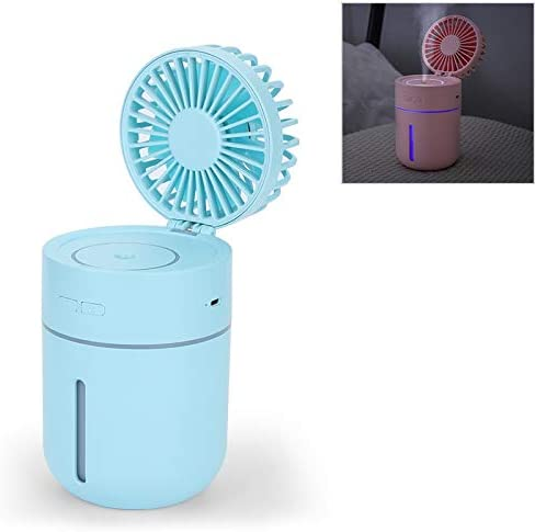 Color : Blue Pink CellphoneMall USB Desk Personal Fan T9 Portable Adjustable USB Charging Desktop Humidifying Fan with 3 Speed Control