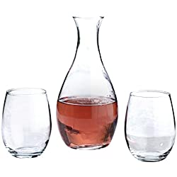 Lillian Rose Wedding Decanter and Stemless Wine Glasses