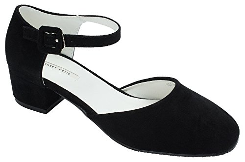 Faux Ankle Suede Pumps Black Holic Womens Sweet Strap qw7COEHx