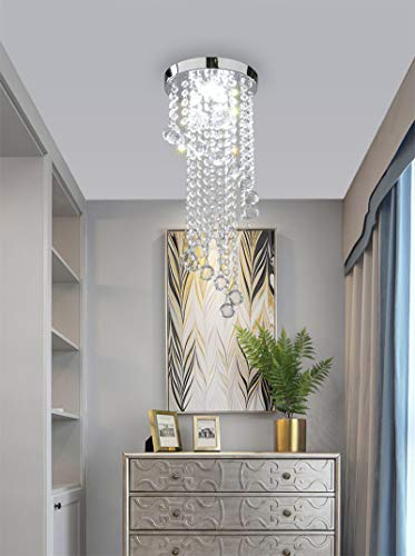 Chrome Crystal Chandeliers Light, Yosoan K9 Crystal Built in 7W LED Ceiling Light with Clear and Angular for Living Rooms, Dining Rooms, Bedrooms, Kids Room, Bar, Kitchen and Hallways