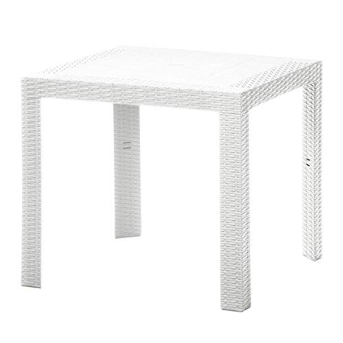 【ガーデンテーブル ラタン調 アウトドア プラスチック 庭 テラス】ステラテーブル 80×80cm ホワイト(C187-S3) B07B6FS5XW  ホワイト