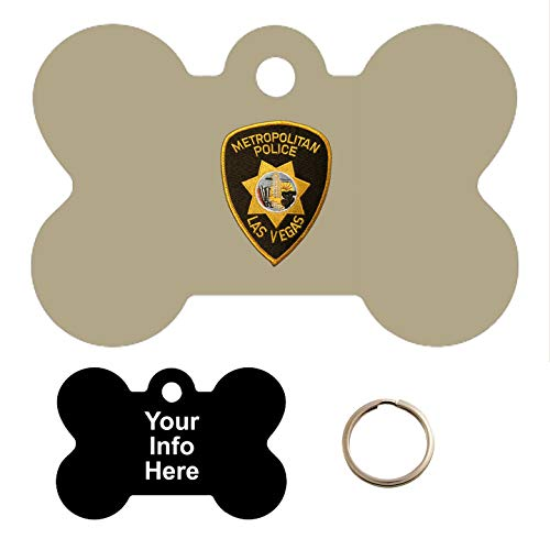 Tag-Z Military Dog Tags - LAS Vegas Metropolitan Police Department Patch - PET TAG - Bone Shape Millitary Dog Tags ()