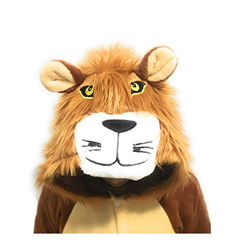 Lion Fleece Onesie Pajamas for Women Adult Cartoon Animal Halloween Christmas Cosplay Onepiece Costume -