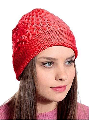 Zacharias Girl's Woolen Skull Cap  0025_Red; Free Size