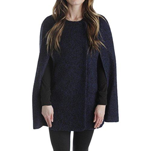T Tahari Womens Martha Wool Textured Cape Coat Blue (Textured Wool Coat)