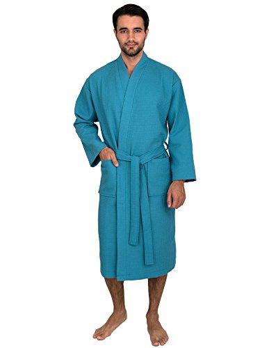TowelSelections Men's Waffle Bathrobe Turkish Cotton Kimono Robe X-Small/Small Blue Moon