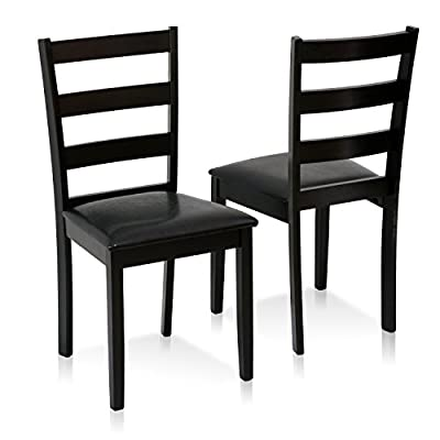 Furinno Cos Simply Solid Wood Dining Chairs (Set of 2), Espresso - Simple stylish design, PU leather upholstered dining chairs suitable for any room Manufactured from solid rubber wood. These chairs are strong, sturdy and long lasting Fits in your space, fits on your budget. This set includes 2 chairs - kitchen-dining-room-furniture, kitchen-dining-room, kitchen-dining-room-chairs - 41Ams2irO7L. SS400  -