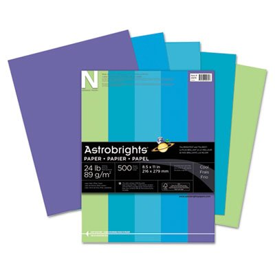 Astrobrights Colored Paper, 24lb, 8-1/2 x 11, Cool Assortment, 500 Sheets/Ream, Sold as 1 Ream, 500 per Ream