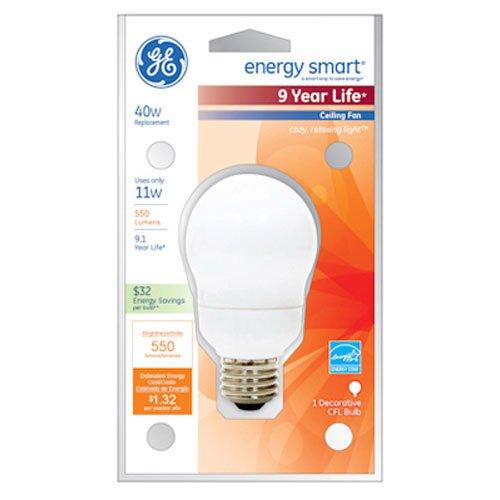 (GE Lighting 47486 Energy Smart CFL 11-Watt (40-watt replacement) 500-Lumen A17 Light Bulb with Medium Base, 1-Pack)