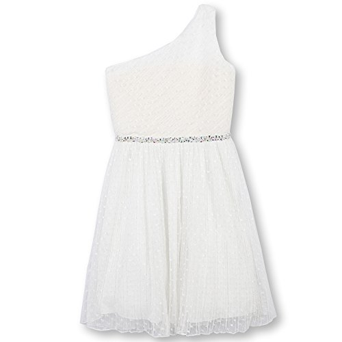 Speechless Girls' Big One Shoulder Dress, Ivory, 10 ()