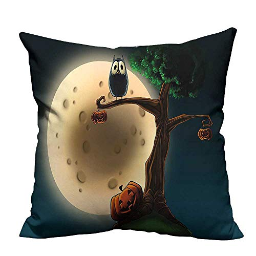 (YouXianHome Sofa Waist Cushion Cover Cute Cartoon of Spooky Halloween Tree with Large Eyed Owl and Pumpkin Decorative for Kids Adults(Double-Sided Printing) 31.5x31.5)