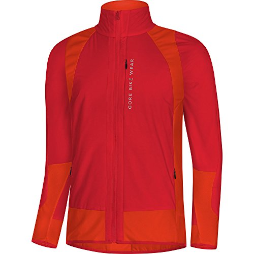 Gore Bike WEAR Men's Mountain Bike Jacket, Gore Windstopper with Primaloft Insulation Protection, Power Trail Jacket, Size: S, Red/Orange, (Primaloft Insulation)