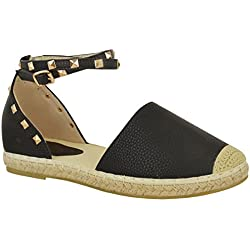 Fashion Thirsty Womens Espadrilles Ankle Strap Flat Summer Sandals Gold Stud Shoes Size 9