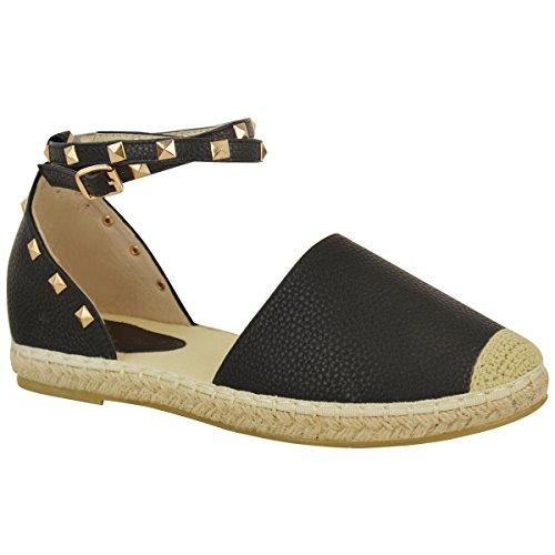 ns Espadrilles Ankle Strap Flat Summer Sandals Gold Stud Shoes Size 9 ()