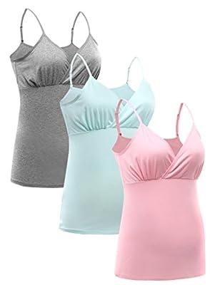 Women Maternity Pajama tops Nursing Tank Top Sleep Bra For Breastfeeding 3PCS/Pack