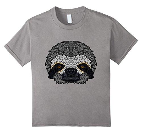 Kids Sleepy Sloth Face T-shirt 4 Slate