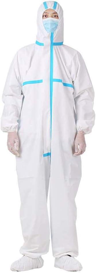 DXFK.AM Unisexo Médico Desechable Overoles Protector Trajes con Puños Elásticos,S