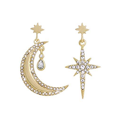Earrings For Women, SENOMOR Earrings Exaggerated Crystal Stars Moon Asymmetrical Drop Dangle Gold Plated Punk Earrings For Women Girls