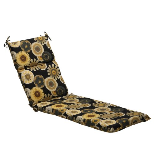 Pillow Perfect Indoor/Outdoor Black/Yellow Floral Chaise Lounge Cushion