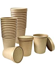 25 Pack Kraft Paper Soup Storage Containers With Lids,SONPENT 32 oz Disposable Kraft Soup Bowls - Take Out Soup Cups Kraft Paper Food Storage Bucket Perfect for Dessert Yogurt Ice Cream,Restaurants, Hot & Cold Dishes