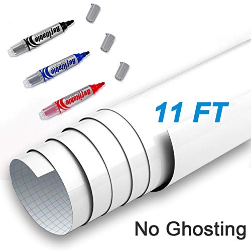 AFMAT Whiteboard Sticker, Dry Erase Contact Paper, White Board Paper Roll, 11ft Self Adhesive White Board Stickers for Wall/Table/Door,Super Sticky,3 Markers-1500m Super Long Writing Distance,No Ghost