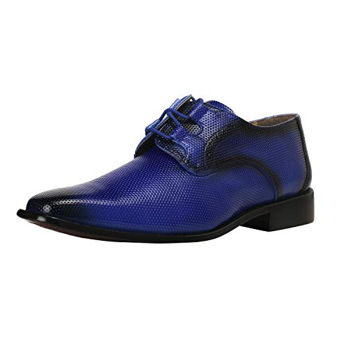 Royal Leather Footwear - Liberty Derby Dress Shoes Men's Formal PU/Leather Tread Design/Knitted/EEL Lace Up Shoes Royal Blue