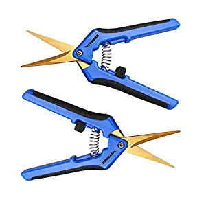 VIVOSUN Gardening Hand Pruner Pruning Shear with Cueved Stainless Steel Blades (Blue Two Pack)