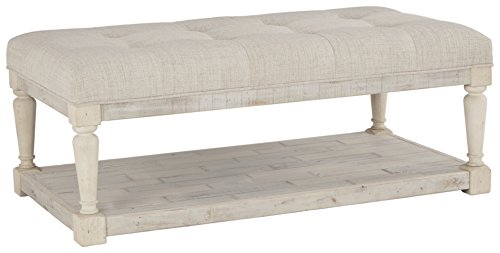 Signature Design by Ashley - Shawnalore Casual Ottoman Cocktail Table w/ Storage Shelf Base, Whitewash Wood (Living Table Ottoman Coffee Room)