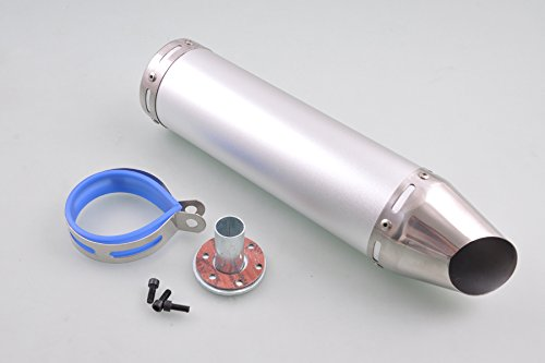 Wotefusi Motorcycle Scooter New Universal Below 150Cc Modified Race Racing Rear Tail Muffler Exhaust Pipe Aluminium Alloy Stainless Steel For Honda Suzuki Yamaha Silver